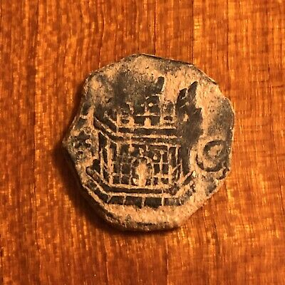 Authentic Medieval European Coin Knights Castle Image Artifact King's Crown Old