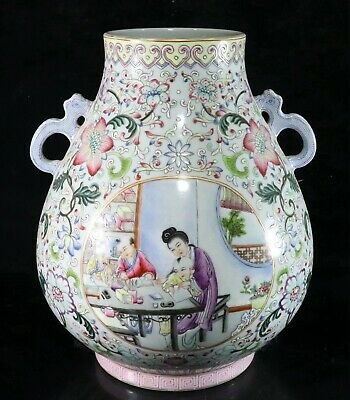 Chinese Exquisite Handmade Figures and flowers porcelain vase