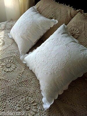 Fine Arts: Shabby Chic Vintage Hand Embroidery Cotton White Peony Cushion Cases