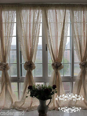 Pair of Shabby Blossom Vine Drawnwork Pull-up Curtains Rod Pocket/Pinch Pleated