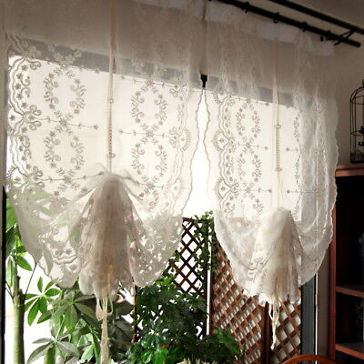 Pair of Fantasy Fairy Tale Shabby Chic White Embroidery Pull - up Curtains