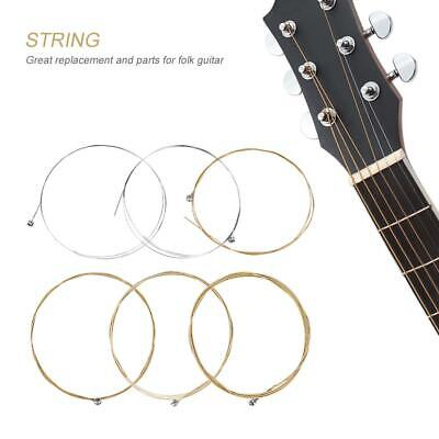 6Pcs Acoustic Guitar Strings Metal For Classic Folk Guitars Replacement Parts