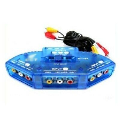 3Way Audio Video AV RCA Switch Switcher Selector Box Splitter for XBOX DVD PS3