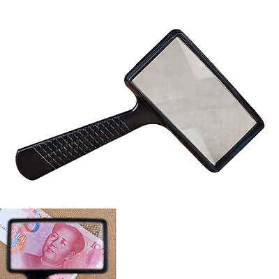 Magnifying REAL GLASS10X Magnifier handheld rectangular read coin stamp Large LB