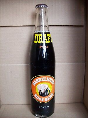 VINTAGE FULL 16 oz 1977 BARRELHEAD ROOT BEER SODA POP MONEY BACK BOTTLE