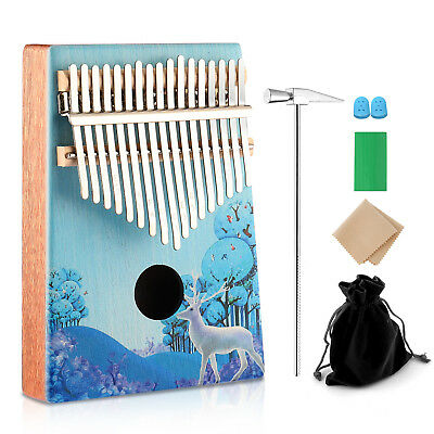 17Key Elk Kalimba Single Board Mahogany Thumb Piano Mbira Keyboard Instrument