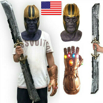 US! Avengers Endgame Thanos Props Infinity Gauntlet LED Gloves / Weapon / Mask