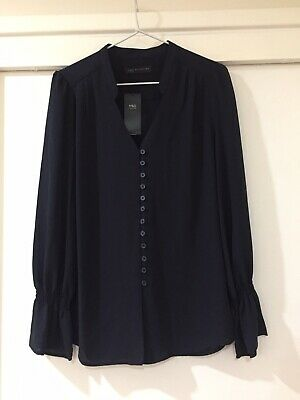 BNWT Marks And Spencer Ladies Navy Blue Button Blouse Size 12 Career Office Wear