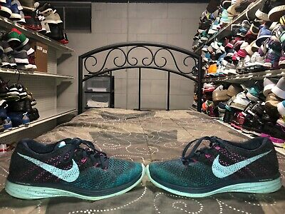 online store 521a9 0b48d Nike Flyknit Lunar 3 Womens Athletic Running Training Shoes Size 9.5 Blue  Pink