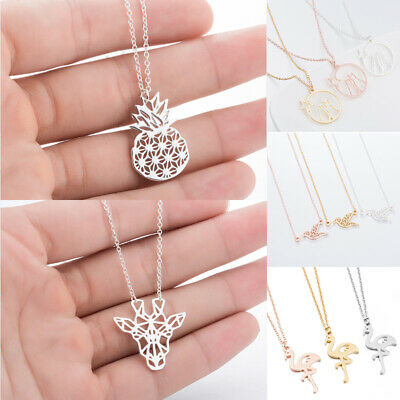 1PC Stainless Steel Pendant Necklace Hollow Animal Plant Women Fashion Jewelry