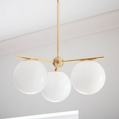 Contemporary Industrial Glass Ball Shape Gold Stem Warm White Pendant Lighting