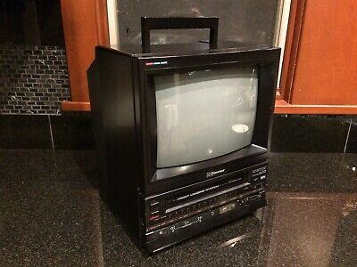 """Vintage 1988 Emerson VCT120 Japan Made 10"""" Retro Gaming CRT TV VCR Combo"""