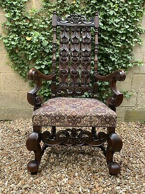 Carved Gothic Victorian Oak Tall Hall Throne Chair . Delivery Available