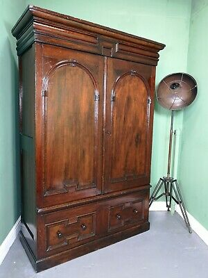 An Antique 19th Century Oak Double Wardrobe ~Delivery Available~
