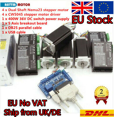 4AXIS NEMA23 STEPPER Motor 425oz-in 3A&Driver DM542A DB25 ... on