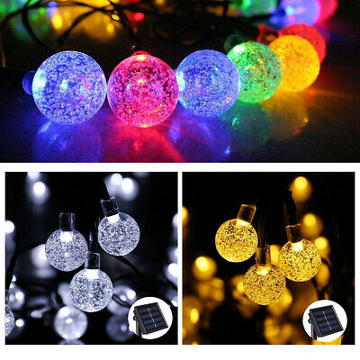 20 30 50 LED Solar Power Fairy Lights Crystal Ball Garden Outdoor Xmas Party New