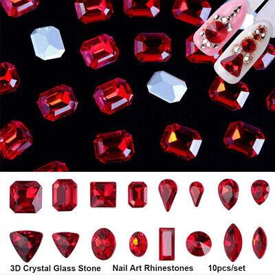 New Chic 10Pcs 3D Nail Art Glitter Decoration Red Rhinestones Crystals Glass