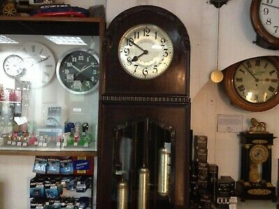 1930S Art Deco dark wood clock eight day chime