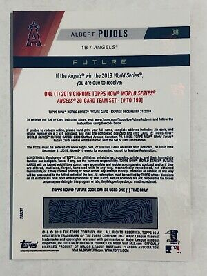 2019 Topps NOW Futures World Series Albert Pujols Angels 20 Card Set #/199