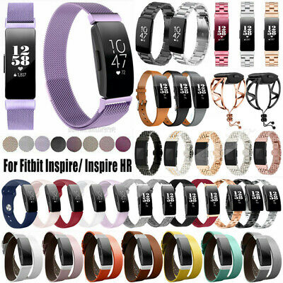 For Fitbit Inspire HR Genuine Leather/Silicone/Stainless Steel Wrist Band Strap
