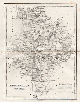 1846 Antique Map Of HuntingdonShire County Huntingdon