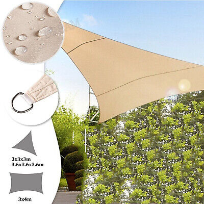 Sun Shade Sail Garden Patio Sunscreen Awning Canopy Shade 98% UV Block Grey New