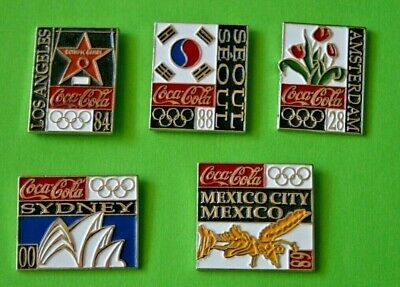 5 pins COCA COLA Jeux Olympique Olympic games MEXICO SYDNEY AMSTERDAM  SEOUL L.A