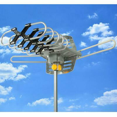 1080P HDTV 200Miles Outdoor Amplified TV Antenna 36dB Rotate Remote 360°UHF VHF