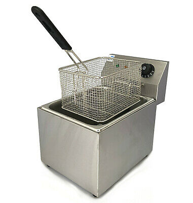 Heavy Duty 8 Litre Electric Single Tank 3Kw Deep Fat Fryer For Chips, Fish Etc