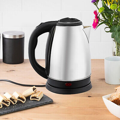 Premium Stainless Steel 2L Electric Kettle Indicator Light 360° Cordless Silver