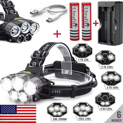 250000LM 5XT6 LED Headlamp Rechargeable Head Light Flashlight Torch Lamp 18650#