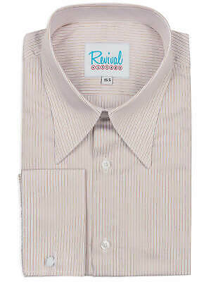 Revival Authentic 1940s Style Sand Track Stripe Spearpoint Collar Shirt