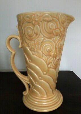 WADE VINTAGE ENGLISH POTTERY ART DECO STYLE JUG VASE NO.371 YELLOW 1940s