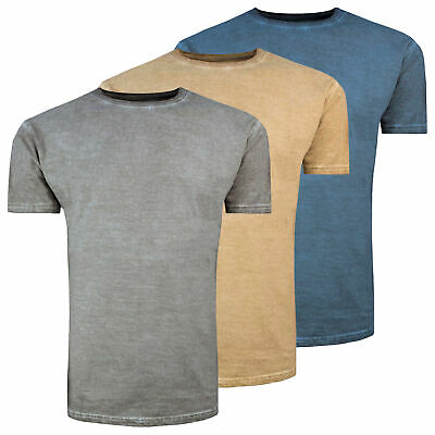 Mens New Acid Wash Distressed Style Plain Colour Tee T-Shirt Short Sleeved