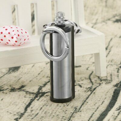 Stainless Steel Permanent Match Striker Torch Lighter with Key Chain Silver Meta