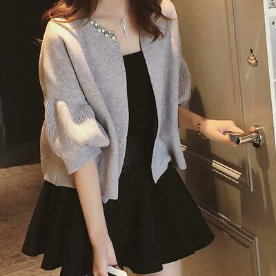 2019 Fashion Women Lady Cardigan Coat Open Front Solid Puff Sleeves Knitted Coat