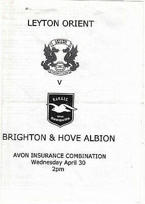 Leyton Orient Reserves v Brighton & Hove Albion Reserves 2002/3