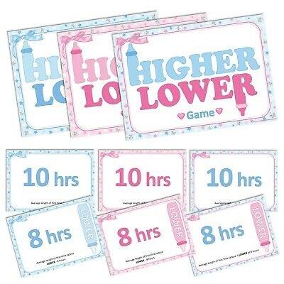 HIGHER OR LOWER - Baby Shower Game, 20 Players, Party Boy Blue Girl Pink Unisex