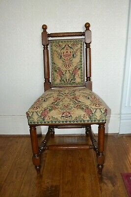 Arts & Crafts Solid Oak Pugin Style Hall / Bedroom / Parlor Chair C1880 Restored