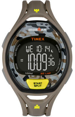New Timex Ironman Gray Yellow Camo,50 Lap,Resin Plastic,Indiglo,Watch Tw5M01300
