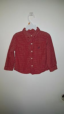 Nautica Brand Dress Shirts Toddler Boy Size 2T Color Red w/White Button Front