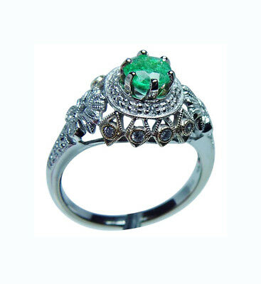 Colombian Emerald 18K White Gold Diamond Ring