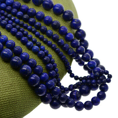 Grade AA 4 6 8 10mm Genuine  lapis lazuli gemstone round loose beads strand
