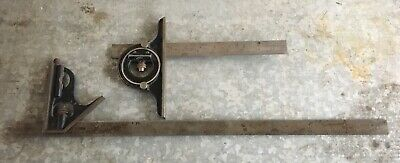 "Vintage Starrett No. 490 Protractor Level 12"" Rule and 24"" Combination Square"