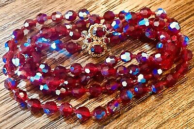 "Vintage Red Aurora Borealis Faceted Glass Beads 18"" Necklace W/beautiful Clasp"