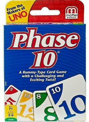 PHASE 10 Card Game Rummy Type Number Colour Family Travel Holiday Flight Mattel