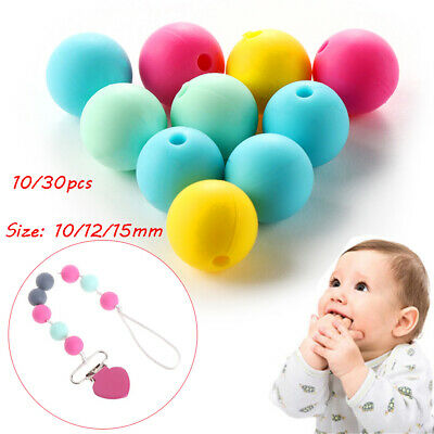 Food Grade Round BPA-Free Silicone Mom DIY Necklace Chew Beads Baby Teether