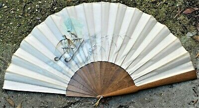 NO RESERVE Vintage Hand Painted Large Hand Fan Vintage Antique