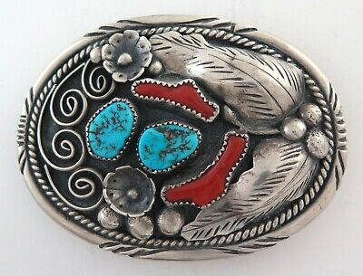 Vintage Sterling Silver Turquoise & Coral Heavy 74 G Western Belt Buckle