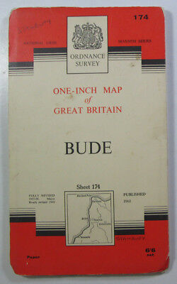 Old Vintage 1964 OS Ordnance Survey Seventh Series One-Inch Map 174 Bude